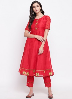 Hypnotic Fancy Red Chanderi Party Wear Kurti