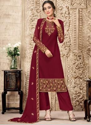 Hypnotic Georgette Maroon Trendy Salwar Suit