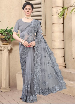 Hypnotic Grey Net Bollywood Saree