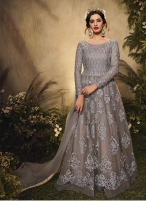 Hypnotic Net Embroidered Grey Floor Length Anarkali Suit