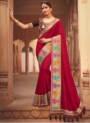 Hypnotic Red Festival Traditional Designer Saree
