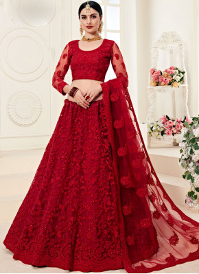 Hypnotic Red Reception Trendy A Line Lehenga Choli