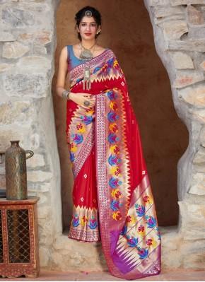 Hypnotic Red Silk Trendy Saree