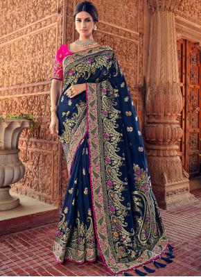 Hypnotic Silk Blue Resham Traditional Saree