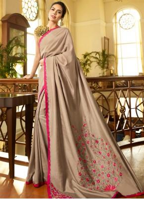 Hypnotic Silk Grey Embroidered Designer Saree