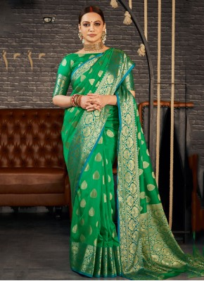 Hypnotic Silk Weaving Green Trendy Saree