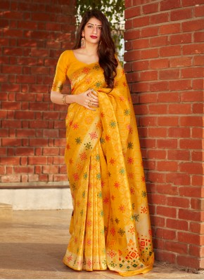 Hypnotic Yellow Weaving Traditional Designer Saree