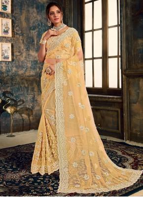 Hypnotizing Beige Embroidered Classic Saree