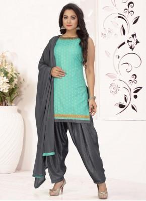 Hypnotizing Chanderi Embroidered Aqua Blue Readymade Suit