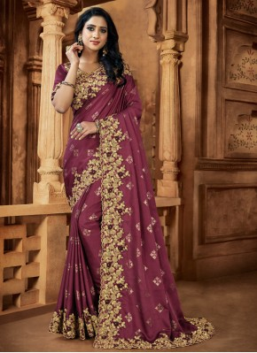 Hypnotizing Embroidered Satin Mauve  Designer Saree