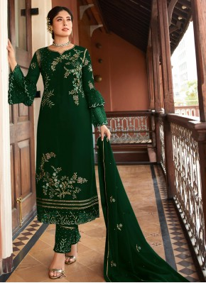 Hypnotizing Green Embroidered Salwar Kameez
