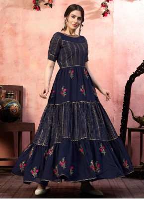 Hypnotizing Navy Blue Silk Designer Gown