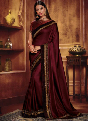 Hypnotizing Patch Border Fancy Fabric Maroon Traditional Saree