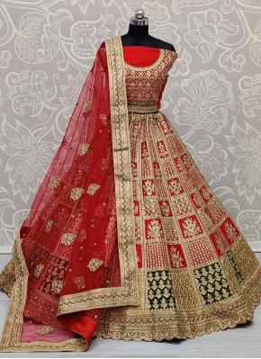 Hypnotizing Silk Embroidered Red Lehenga Choli