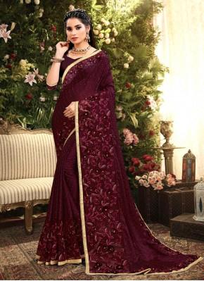 Hypnotizing Wine Embroidered Rangoli Bollywood Saree