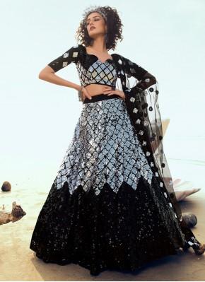 Ideal Black and Grey Sequins Net A Line Lehenga Choli