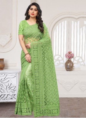 Ideal Embroidered Net Designer Saree