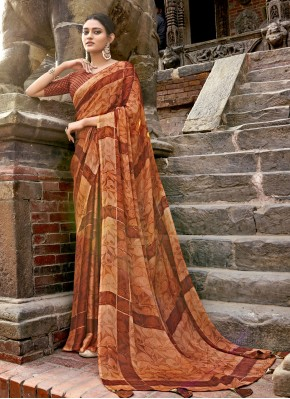 Ideal Faux Chiffon Printed Traditional Saree