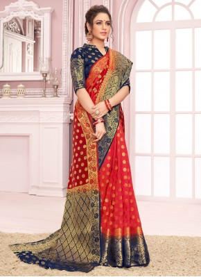 Ideal Nylon Red Traditional Saree