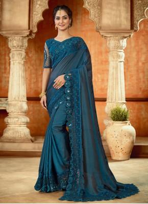 Ideal Resham Satin Blue Trendy Saree