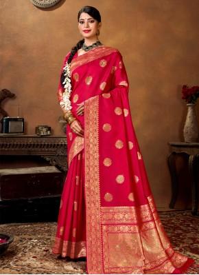 Immaculate Banarasi Silk Rani Traditional Designer Saree