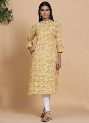 Immaculate Cotton Printed Yellow Party Wear Kurti