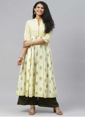 Immaculate Cotton Yellow Print Designer Kurti