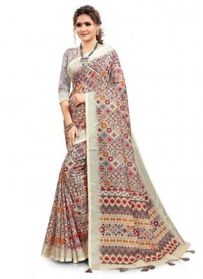 Immaculate Digital Print Multi Colour Cotton Printed Saree