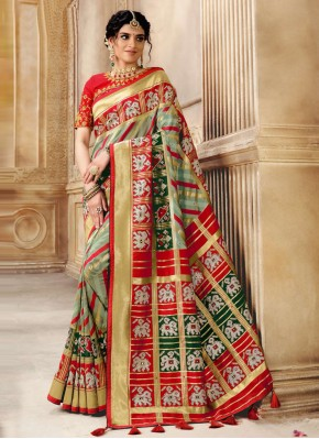 Immaculate Fancy Patola Silk  Multi Colour Traditional Designer Saree