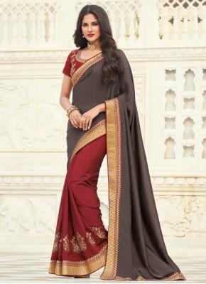 Immaculate Grey and Maroon Silk Designer Half N Half Saree