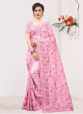 Immaculate Pink Silk Contemporary Saree