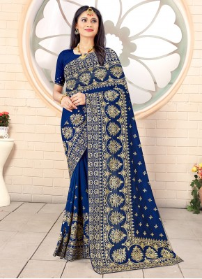 Immaculate Vichitra Silk Embroidered Designer Traditional Saree