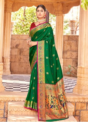 Immaculate Weaving Green Traditional Designer Saree