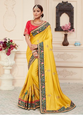Immaculate Yellow Embroidered Silk Designer Traditional Saree