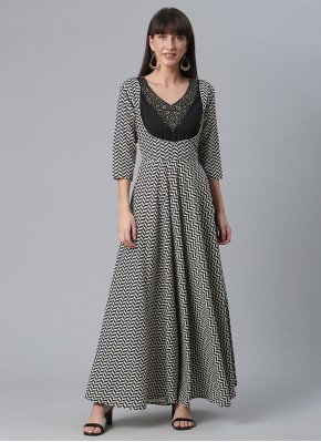 Impeccable Black and White Faux Crepe Party Wear Kurti