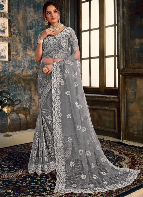 Impeccable Embroidered Net Grey Classic Saree