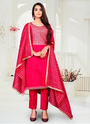 Impeccable Fancy Chanderi Hot Pink Pant Style Suit