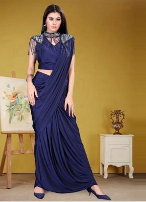Impeccable Lycra Sequins Trendy Saree
