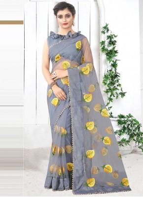 Impeccable Print Net Grey Printed Saree