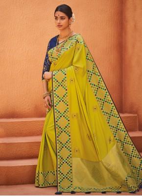 Impeccable Weaving Yellow Designer Saree