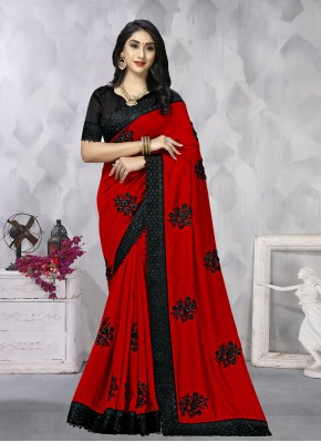 Imperial Red Vichitra Silk Traditional Saree