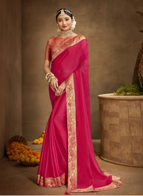 Imposing Chanderi Patch Border Hot Pink Traditional Saree
