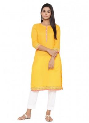 Imposing Cotton Yellow Printed Party Wear Kurti