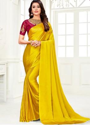 Imposing Faux Chiffon Yellow Diamond Classic Saree