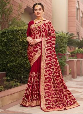 Imposing Patch Border Maroon Vichitra Silk Designer Saree