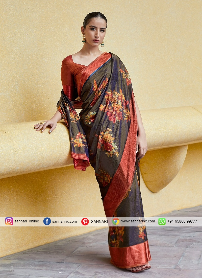 Imposing Satin Blend Trendy Saree