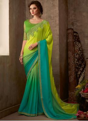 Imposing Silk Aqua Blue and Green Classic Saree