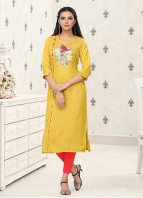 Imposing Yellow Festival Party Wear Kurti