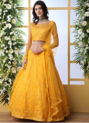 Imposing Yellow Net Lehenga Choli