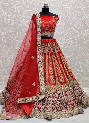 Impressive Embroidered Red Lehenga Choli